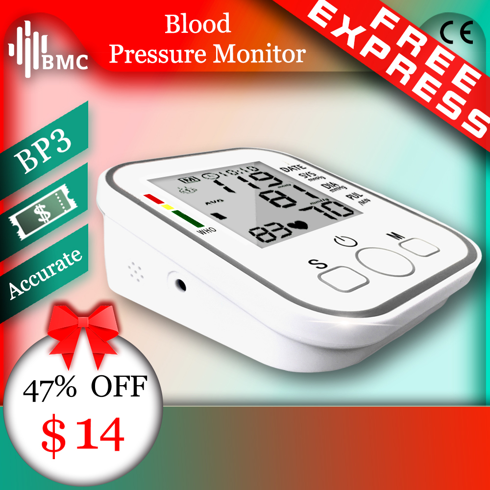 BMC Homeuse Health Care Digital Lcd Upper Arm Blood Pressure Monitor Heart Beat Automatic Meter Machine(China)
