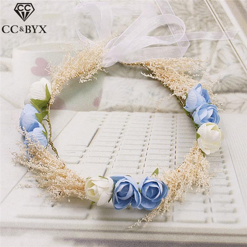 CC & BYX Tiaras Docela víla Květina Koruna Svatební večírek Ručně vyráběné Svatební Vlasové doplňky Tiara Vlasové ozdoby Šperky Coras 8656
