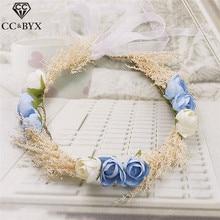 CC&BYX Tiaras Pretty Fairy Flower Crown Wedding Party Handmade Bridal Hair Accessories Tiara Hair Ornaments Jewelry Coras 8656