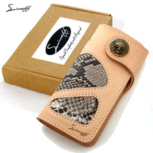 SMIRNOFF Man Vintage Indian Leader Metal Buckle Card Holder Handmade Hasp Boa Leather And Vegetable Tanned Leather Male Wallet