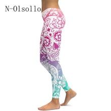 2017 New Quick-Drying Gothic Leggings Fashion Design Steampunk Leggins Women Flowers Skull 3D Print Casual Pants Plus Size Legin
