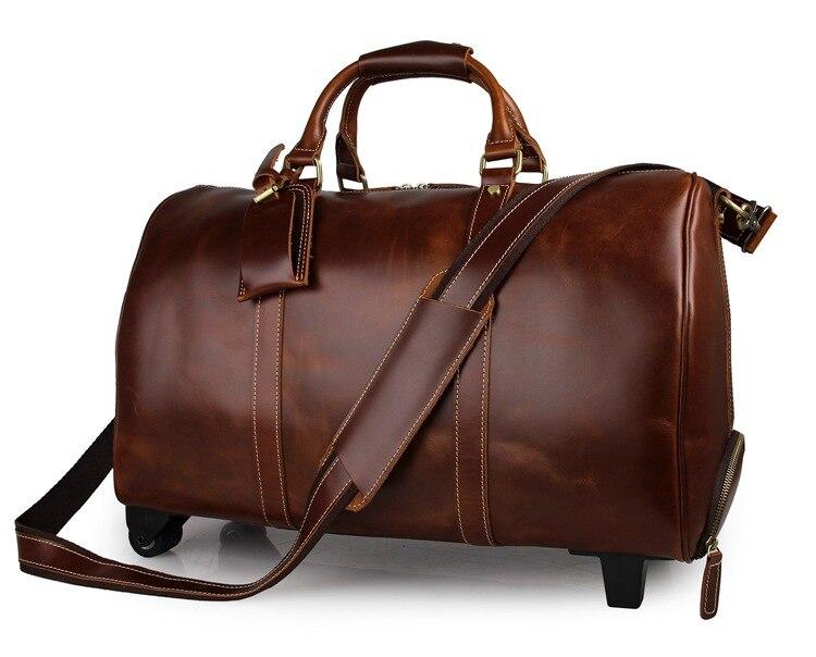 J.M.D Genuine Excellent Vintage Leather Unisex Casual Large Capacity Travel Duffle Bag Trendy Business Travel Laptop Bag 7077LB