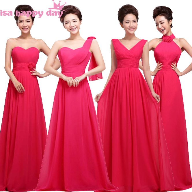 Fuchsia Hot Pink Long Bridesmaid Robes Dresses Romantic Chiffon Sweetheart Party Gown Bride Maids Women Fall Party Dress