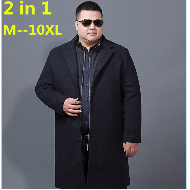 Jackets Wool-Coats Winter Long-Section Single-Breasted Men's Casual Man Cashmere Turn-Down-Collar