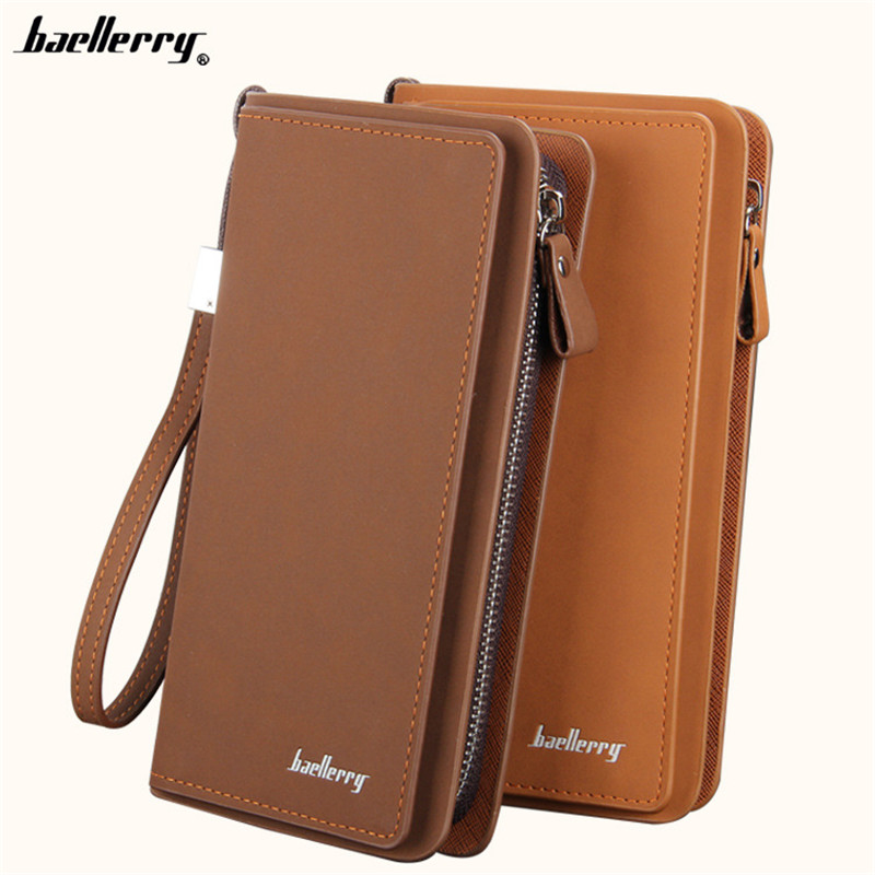 Vintage Baellerry Men High Capacity Long Wallet Coin Purse Male Money Pocket Wristlet Pochette Clutch Card Holder Passport Case fashion baellerry men pu leather portable card holder organizer long wallet money coin purse male pocket pochette clutch bag