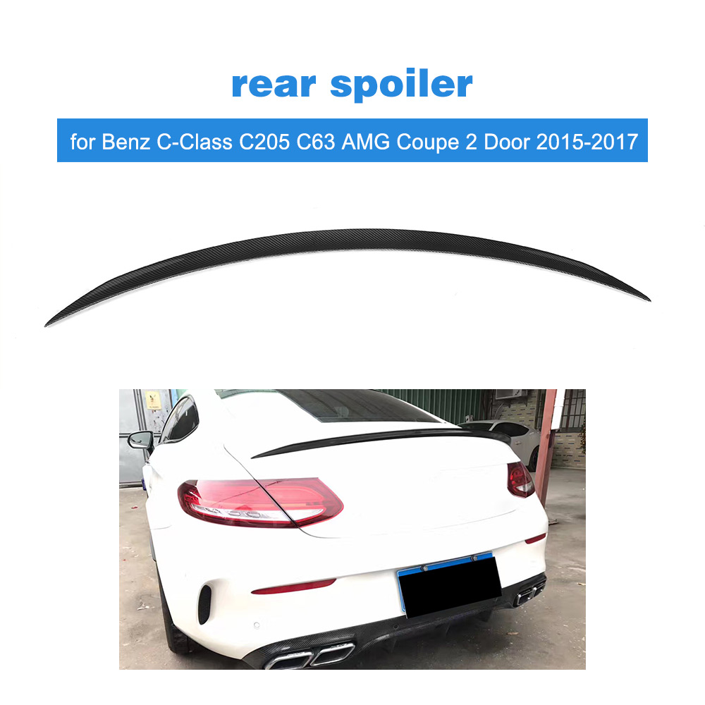 Carbon fiber Rear Trunk Spoiler Roof Wing Lip Sticker for Mercedes Benz C-Class C205 C63 AMG Coupe 2 Door 2015-2017 FRP Black mercedes s class w221 2005 2013 amg style carbon fiber cf spoiler rear trunk wings tail lip for benz s320 s400 s420 s450 s600