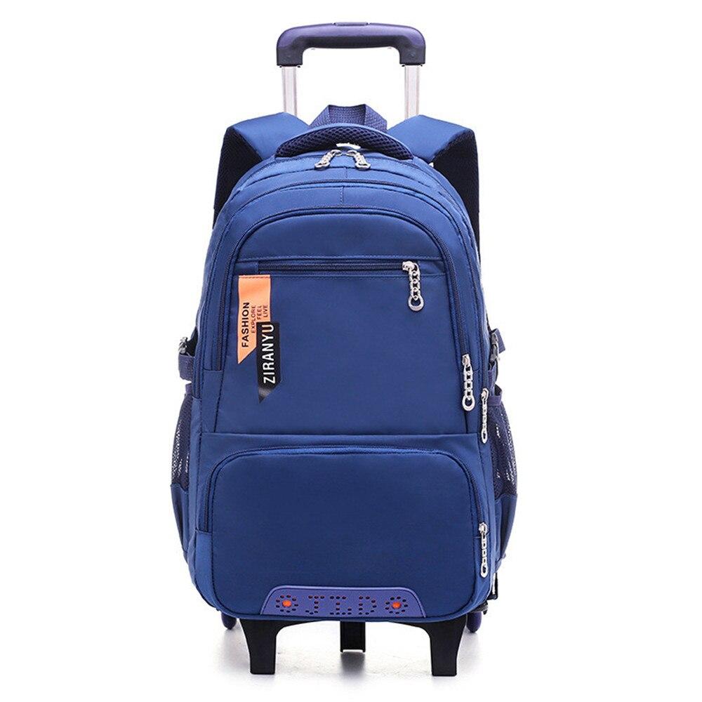 Children Wheeled School Bag for Boys Girls Kids Trolley Backpack Waterproof Book Bags with 2 6