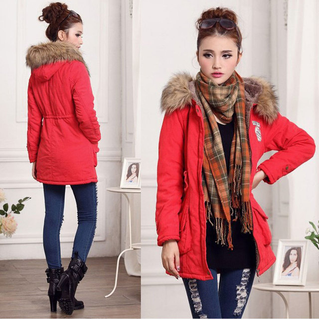 Drop Sale 2016 Lady Women New Fashion Thicken Warm Winter Coat Hood Overcoat Long Jacket Outwear Red Black Pink Green Colors
