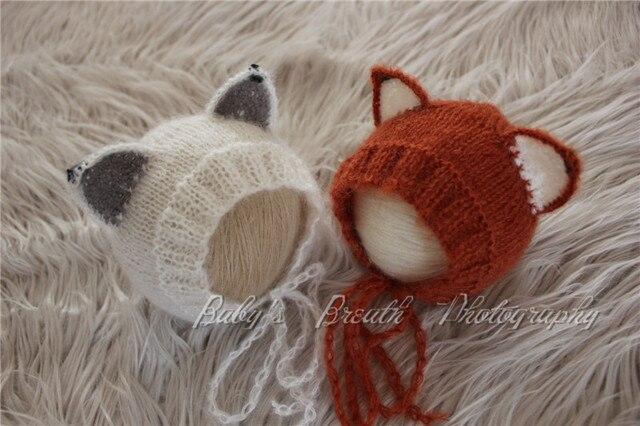 (3pieces lot)Fox Hat Newborn Baby Knitted Fox Beanie Newborn Photo Prop  Funny Hat for Newborn 8610048242c