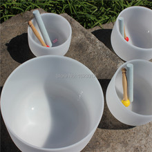 8″ Tuned tones Note B Crown Chakra for sound therapy Frosted Quartz Crystal Singing Bowl