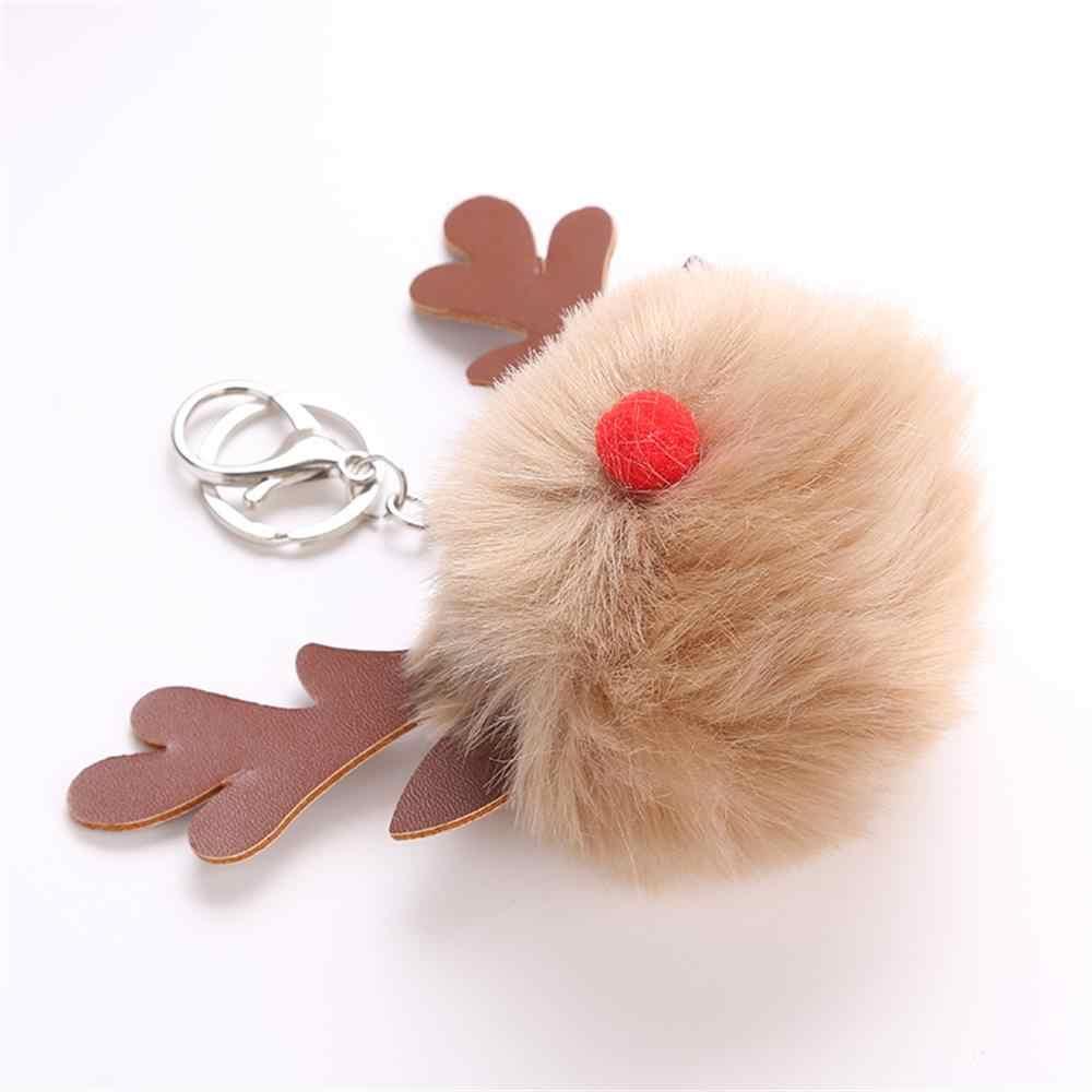 Adorável Cervos Do Natal Keycahin Pompom Fofo Pele De Pelúcia Boneca Chaveiro Bolsa Chaveiro Mulheres Homens Moda Jóias Presente Do Xmas