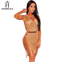 Hambelela Best Selling 2017 Products China Clothing Ladies Party Dress Summer V Neck Gold Bodycon Sheath Metallic Knitted Dress