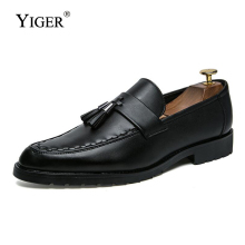YIGER New Men Loafers Spring/Autumn Dress shoes Slip-up Man Driving Casual Male Wedding Leisure Shoes  0188