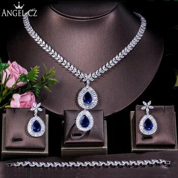 ANGELCZ Big Water Drop Blue Cubic Zircon Nigerian Wedding 4pcs Jewelry for Women Bridal Necklace Earring Bracelet Ring Set AJ171