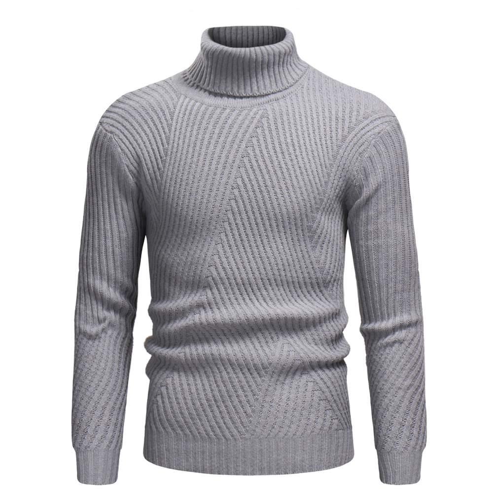 Mens Sweaters 2019 Pullovers Turtleneck Men Wool Sweater Men Clothes Mens Casual Slim Solid Men Winter Clothes Spliced Wave Cut
