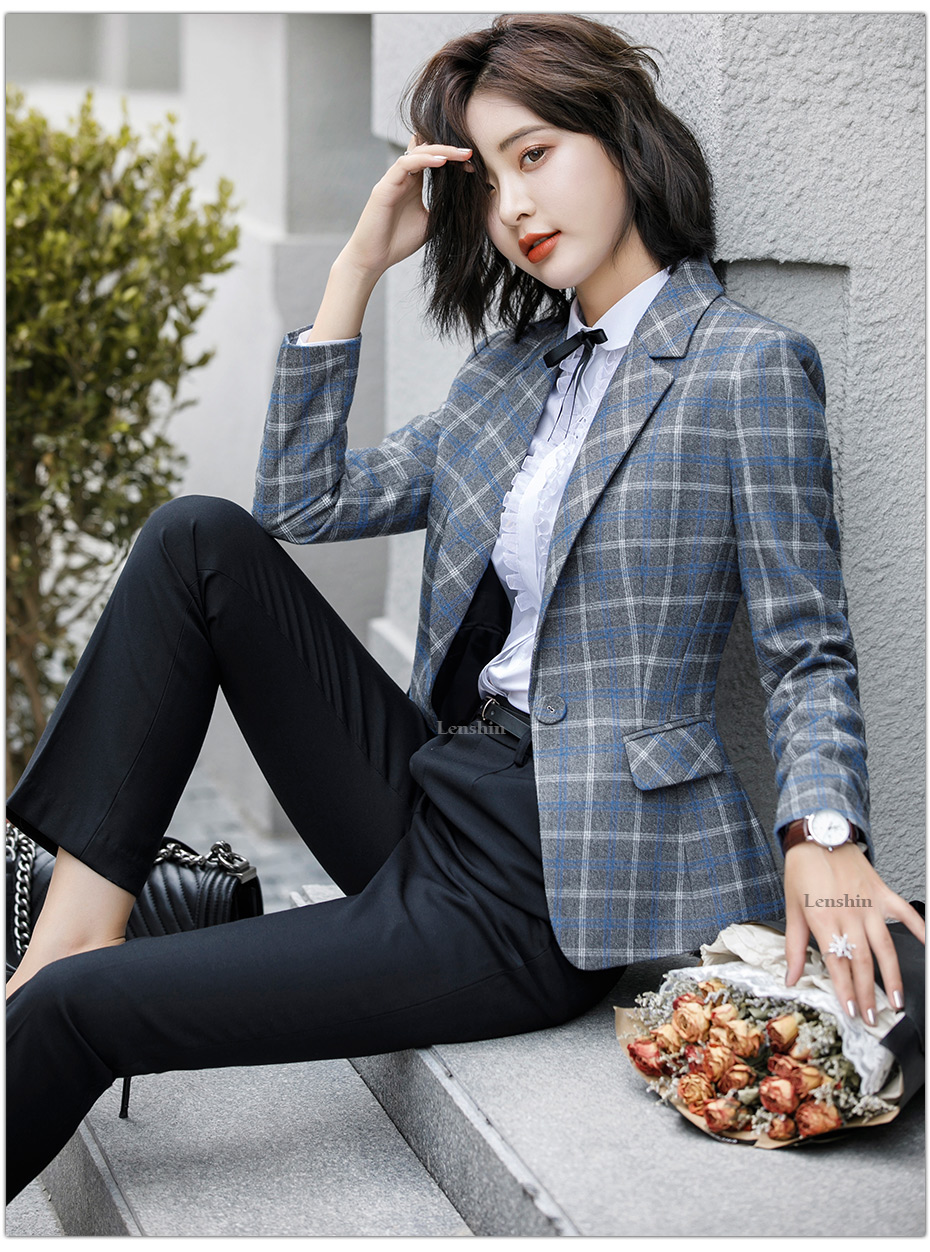 Lenshin Soft and Comfortable High-quality Plaid Jacket with Pocket Office Lady Casual Style Blazer Women Wear Single Button Coat 8