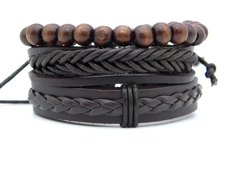 Stylish leather Braid Hemp bracelets Men's Women's Handmade Wood Beads leather Wrap Combined bracelets Jewelry Gifts 3pcs/set 10