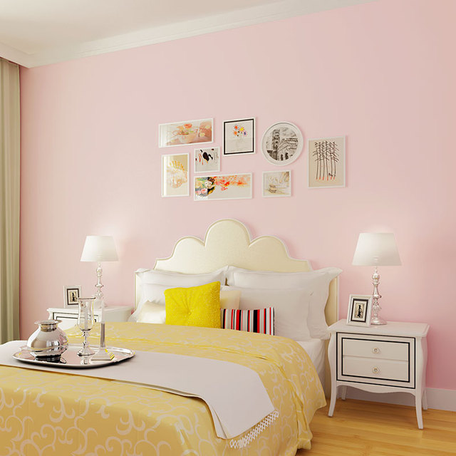 Modern Solid Non Woven Wallpaper Bedroom Living Room Study Children S Pink Yellow And Blue