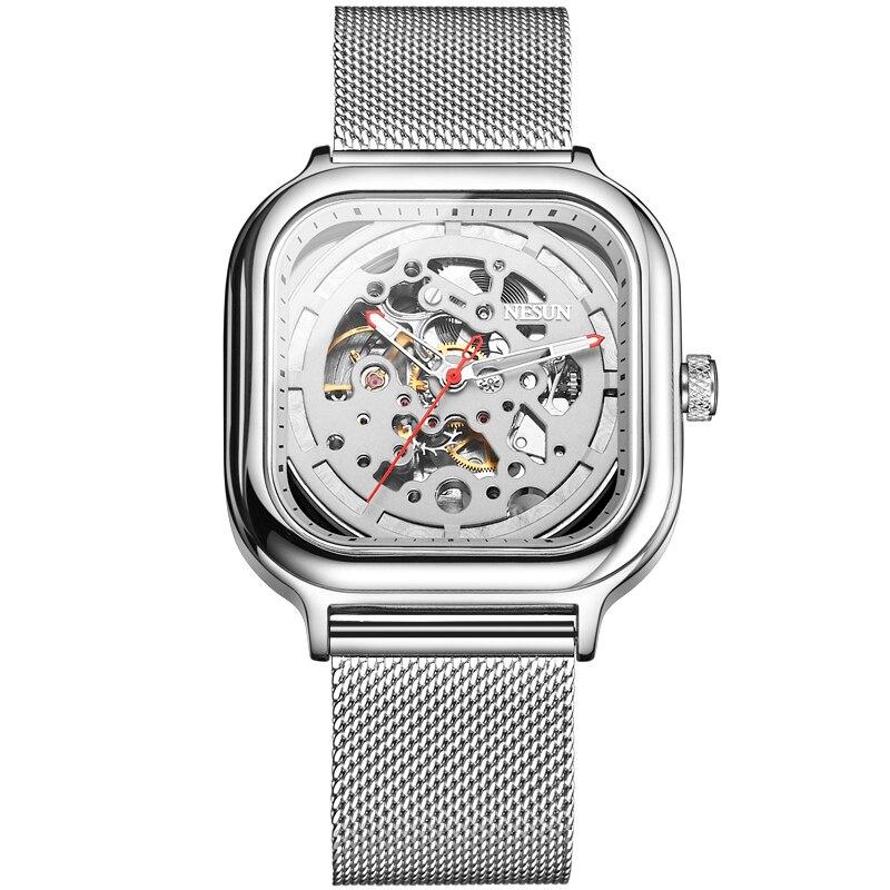 все цены на Switzerland Nesun Automatic Mechanical Watch Skeleton Clock Men Luxury Brand Men's Watches Waterproof relogio masculino N9505G-1 онлайн