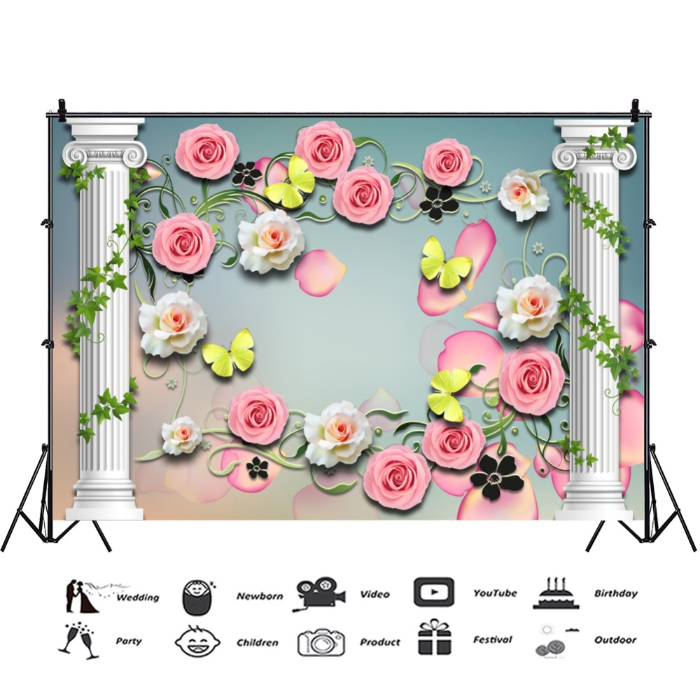 Laeacco Photography Backdrop Spring Flowers Petal Butterfly Pillar Vine Party Wallpaper Pattern Photo Background Photo Studio in Background from Consumer Electronics