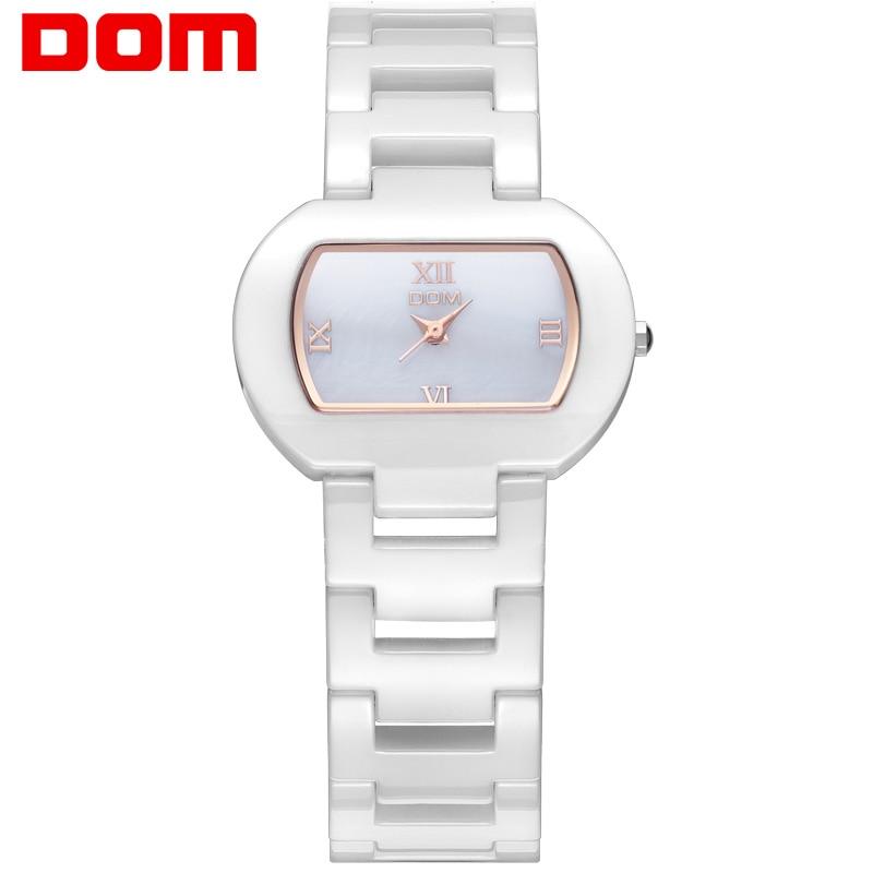 DOM Vit Keramisk Klocka Mode Lyx Kvinnlig Vattentät Armbandsur Dam Klänning Tillfälligt Klocka Alla hjärtans dag Present T-576-7M
