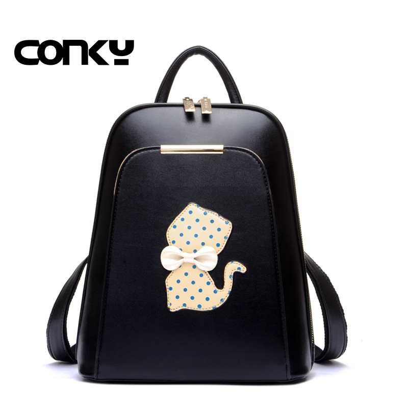 2016 NEW fashion backpack women backpack Leather school bag women Casual style cute cat printing lady