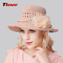 2016 Fashion Lady Straw Sun Hat Women Ladies Summer Beach Cap Wide Brim Sun Cap Foldable Female Outside Hat Flower B-3155
