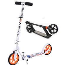 Kick Scooter City Urban Commuter Push Scooter for Teens Adult--Height Adjustable Easy-Fold 2 Big PU Wheels Rear Brake/Suspension