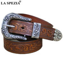 LA SPEZIA Real Leather Belt Men High Quality Camel Pin Male Retro Designer Brand Cowhide Genuine Carving 130cm