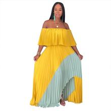 Adogirl slash neck cloak sleeve long pleated dress color patchwork off shoulder layered Harmonium women bohemian