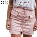 Hee grand mujeres atractivas las faldas de moda bolsillos de gamuza vendaje saias envoltura corta mujer delgada lápiz falda mujeres wqb885 das mulheres