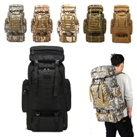 80L Waterproof Climbing Hiking Military Tactical Backpack Bag Camping Mountaineering Outdoor Sport Molle 3P Bag