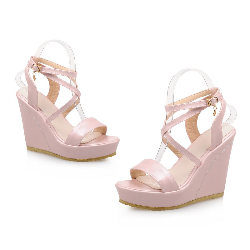 e511230c0647 Big size 33-43 high quality hot sale 2016 women solid platform high heels  wedge sandals 3 colors