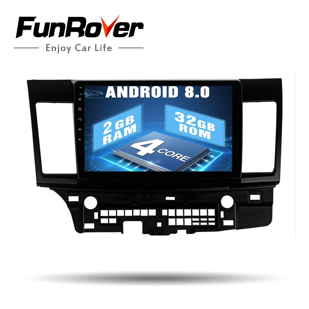 Funrover Android8.0 2 din Car radio stereo player multimedia for MITSUBISHI LANCER 2007+ 10.1'' GPS Navi headunit wifi rds audio image