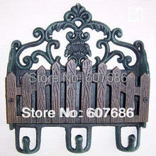 Antique Cast Iron Paper Letter Rack Decorative Coat Hat Wall Hooks Holder Art Free Shipping Garden