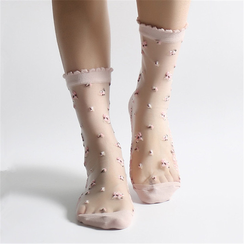 HTB18th7yBmWBuNkSndVq6AsApXak - 1 Pair Breathable Ultra Thin Socks Summer Women Transparent Lace Silk Crystal Rose Flower Girls Elastic Short Socks Female Sox