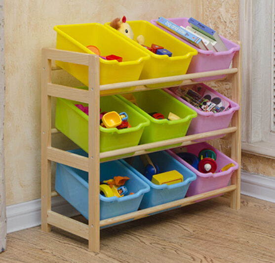 Kids Plastic Toys Shelf Baby Wood Cabinet Toy Storage Rack