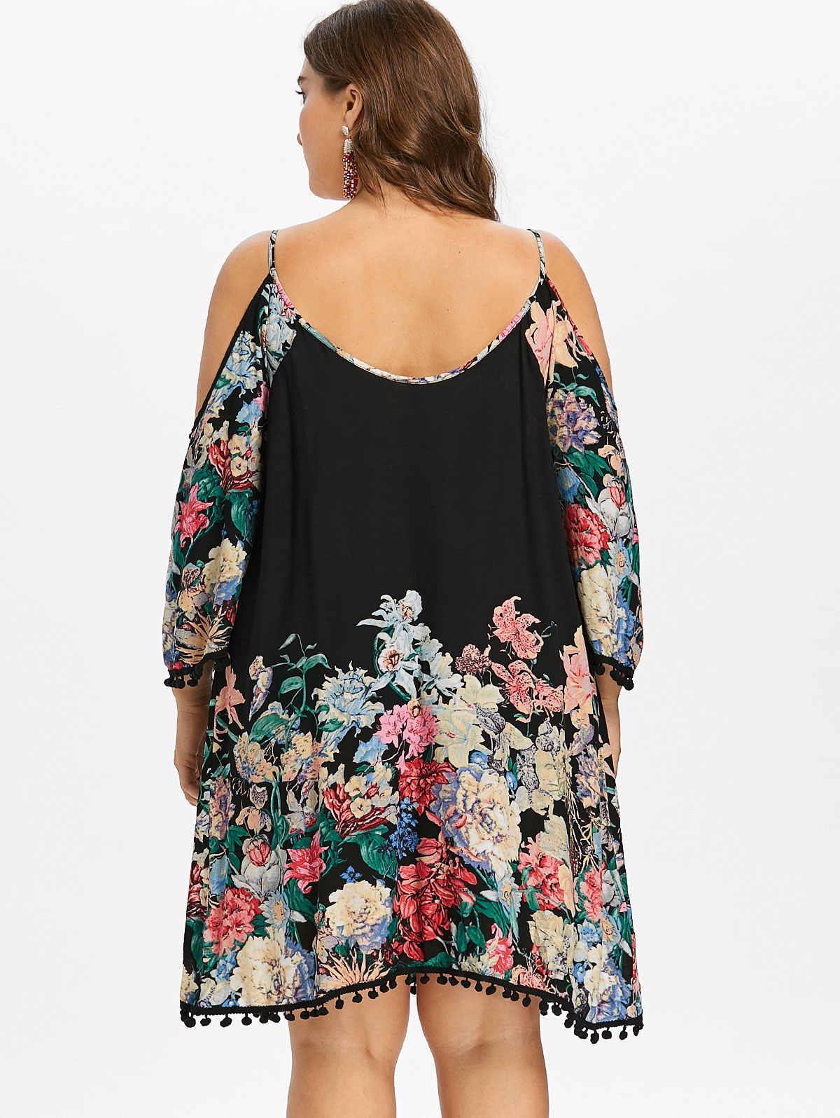 Wisalo плюс размер печати Повседневное платье с открытыми плечами женская одежда весна Спагетти ремень с длинным рукавом платья вечернее платье vestidos