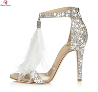 Original Intention New Elegant Women Sandals Fashion Feather Open Toe Thin Heels Nice Beige Shoes Woman