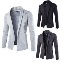 Лидер продаж, Модный высококачественный осенне-зимний мужской повседневный приталенный однотонный костюм без пуговиц, Блейзер, деловая Рабочая куртка, куртка, верхняя одежда