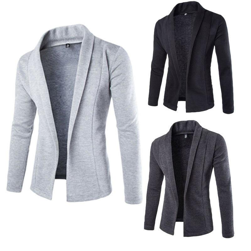 Hot Sale Fashion High-quality Autumn Winter Men's Casual Slim Fit Solid No Button Suit Blazer Business Work Coat Jacket Outwear