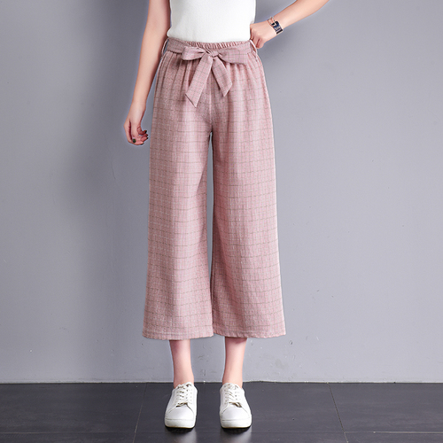 Summer Spring New Loose Wide Leg   Pants     Capris   High Waist With Belt Temperament Trousers For Women Fashion Casual   Pants   Women