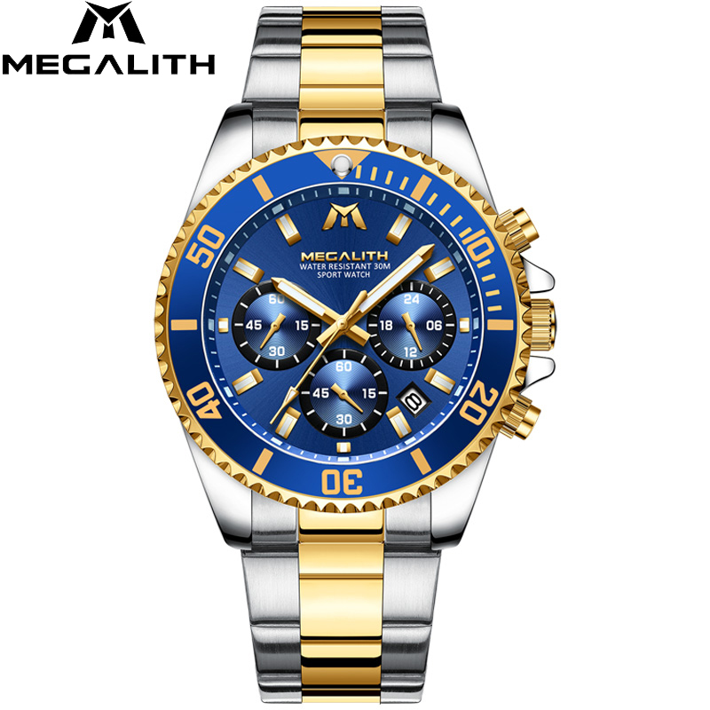 MEGALITH Fashion Luxury Watches Full Steel Wrist Watches Casual Sports Chronograph Date Waterproof Analog Quartz Watch Men