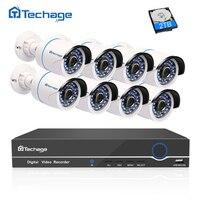 Techage Full 8CH 1080P POE Kit POE NVR 8PCS 2 0mp Waterproof IR IP Camera P2P