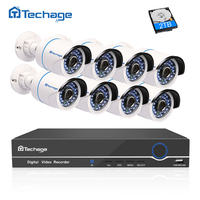 Techage Full 8CH 1080P POE Kit POE NVR 8PCS 2 0mp Waterproof IR IP Camera P2P