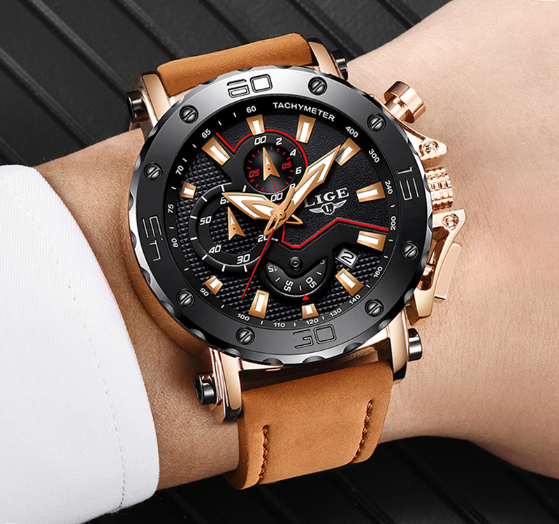 LIGE Men Watches Male Business Date Chronograph Waterproof Quartz Watch Men's Casual Leather Large Dial Military Watch Relogio