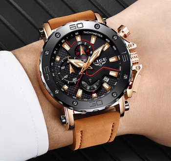 LIGE Men Watches Male Business Date Chronograph Waterproof Quartz Watch Mens Casual Leather Large Dial Military Relogio