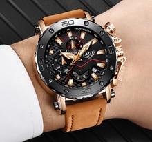 LIGE relojes para hombre, reloj masculino de cuarzo, resistente al agua, con cronógrafo, fecha de negocios, Esfera Grande de cuero informal, Militar
