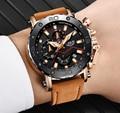 LUIK Mannen Horloges Mannelijke Business Datum Chronograaf Waterdicht Quartz Horloge mannen Casual Lederen Grote Wijzerplaat Militaire Horloge Relogio