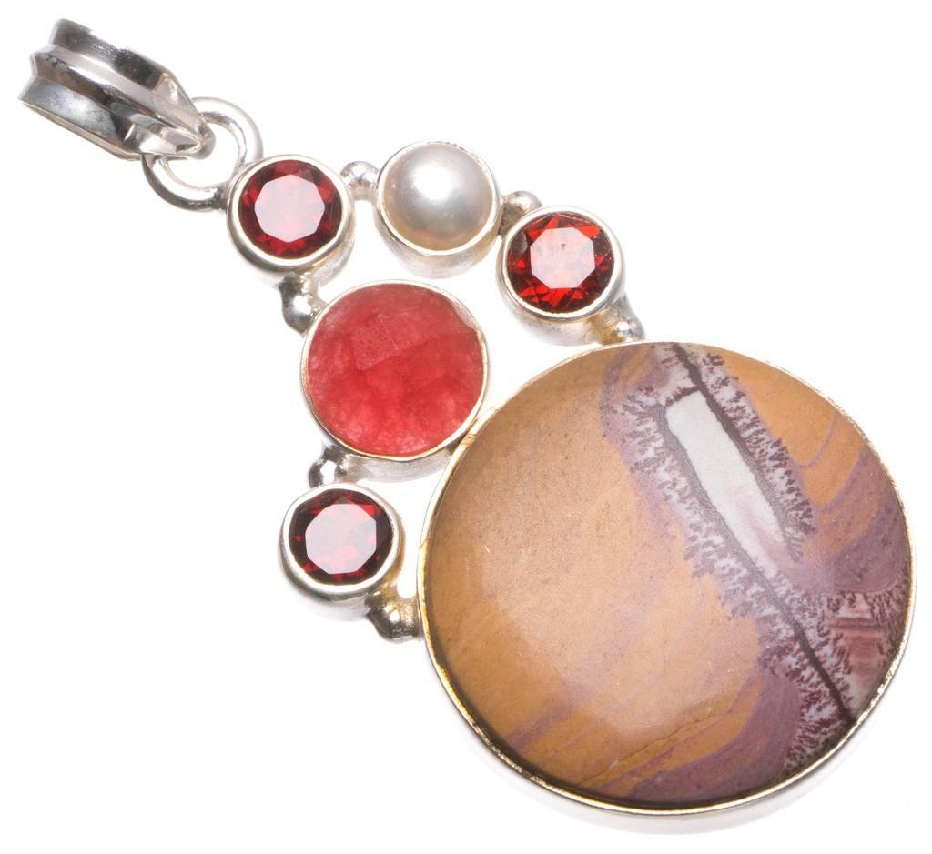 Natural Spot Jade,Cherry Ruby,Garnet River Pearl Handmade Mexican 925 Sterling Silver Pendant 2 U0476